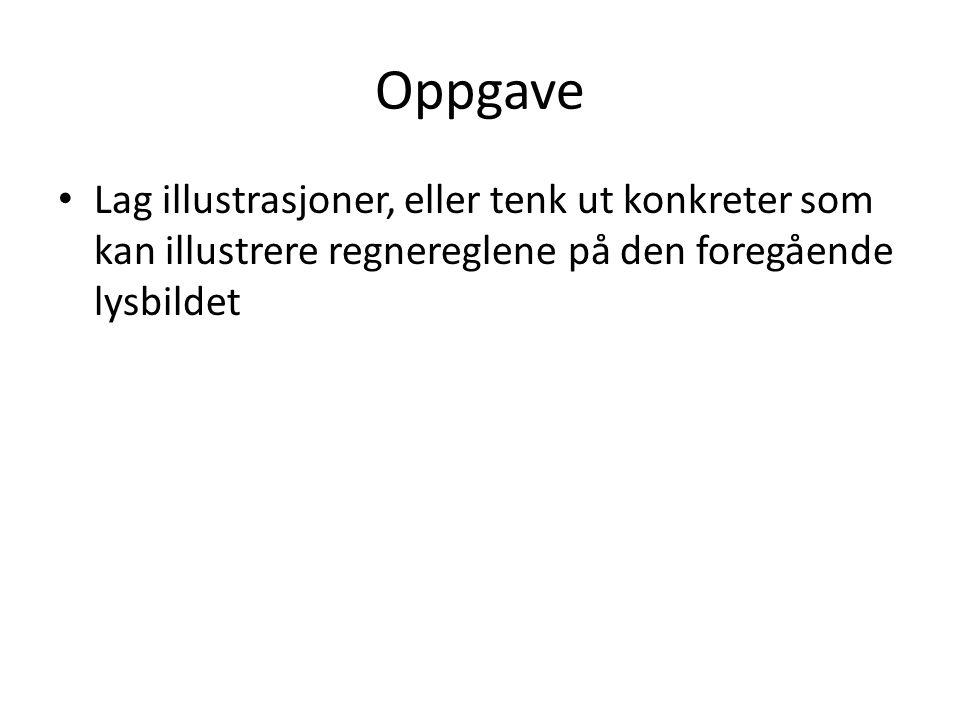 Oppgave Lag illustrasjoner, eller tenk ut konkreter som kan illustrere regnereglene på den foregående lysbildet.