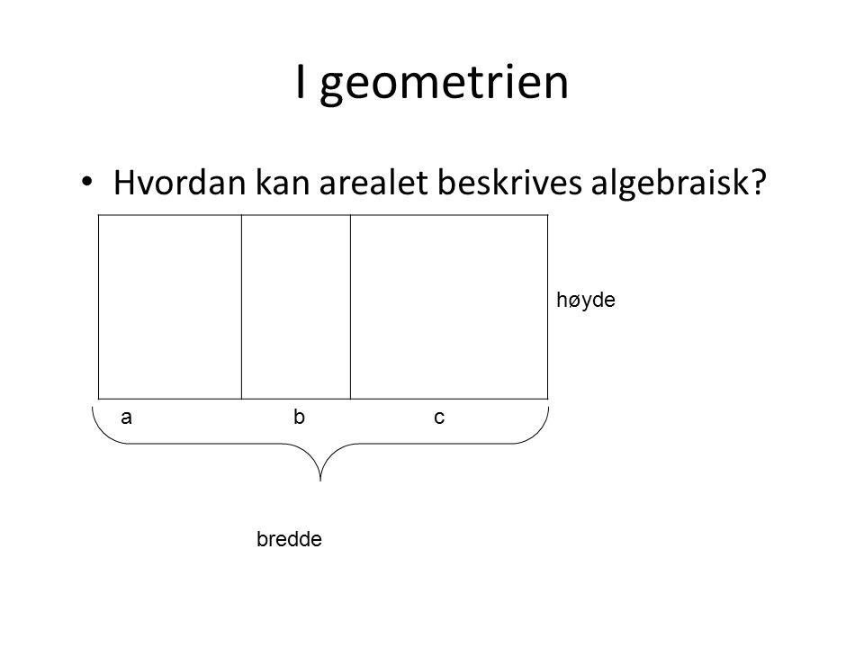 I geometrien Hvordan kan arealet beskrives algebraisk høyde a b c