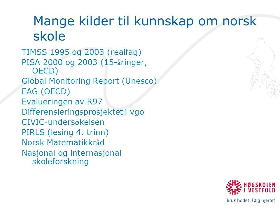 Mange kilder til kunnskap om norsk skole