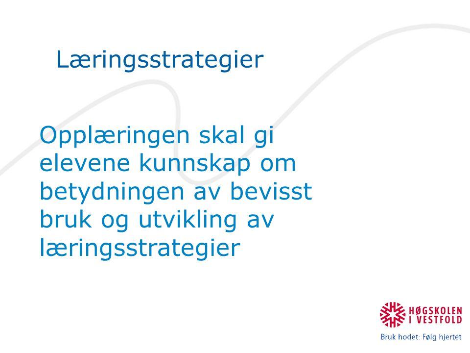 Læringsstrategier Opplæringen skal gi elevene kunnskap om betydningen av bevisst bruk og utvikling av læringsstrategier.
