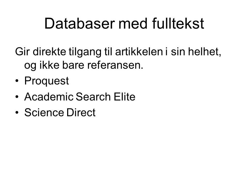 Databaser med fulltekst