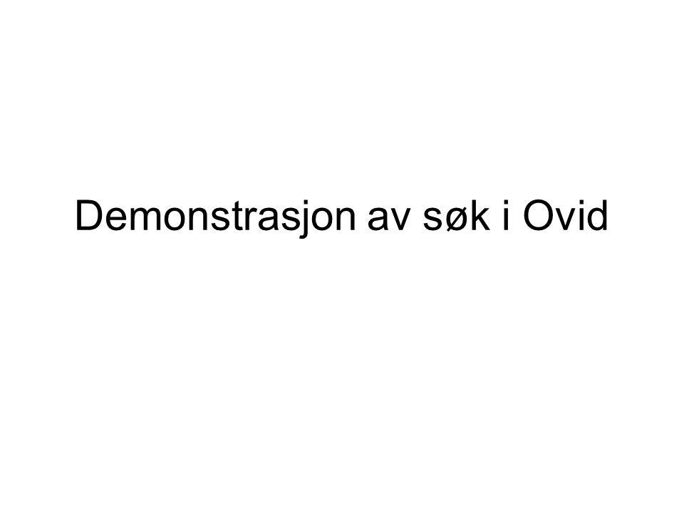 Demonstrasjon av søk i Ovid
