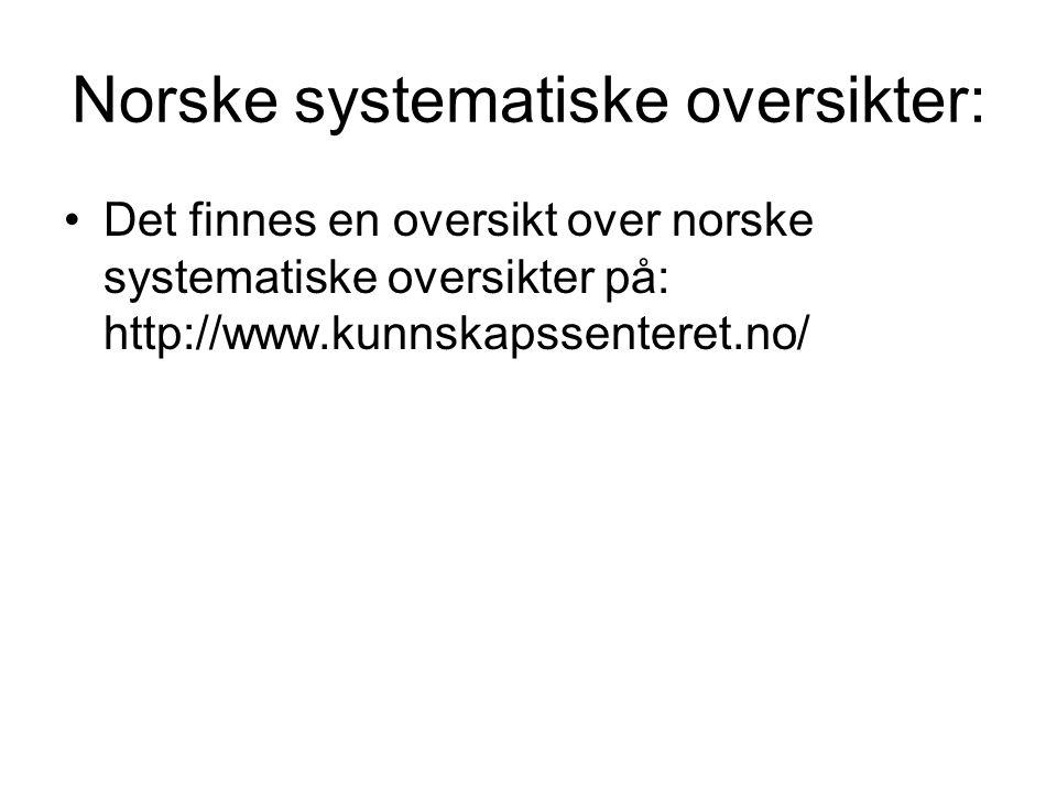 Norske systematiske oversikter: