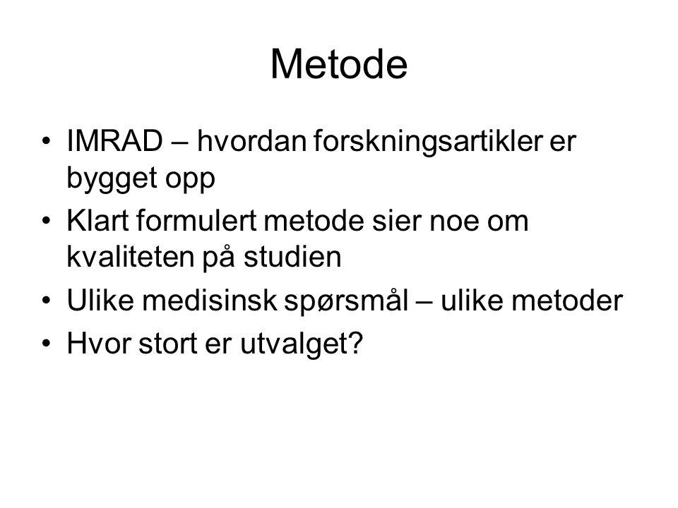 Metode IMRAD – hvordan forskningsartikler er bygget opp