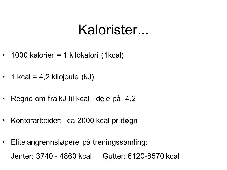 Kalorister... 1000 kalorier = 1 kilokalori (1kcal)