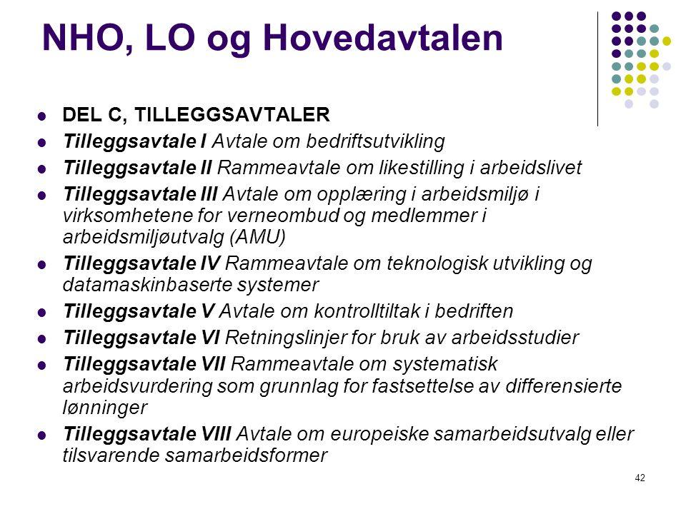NHO, LO og Hovedavtalen DEL C, TILLEGGSAVTALER