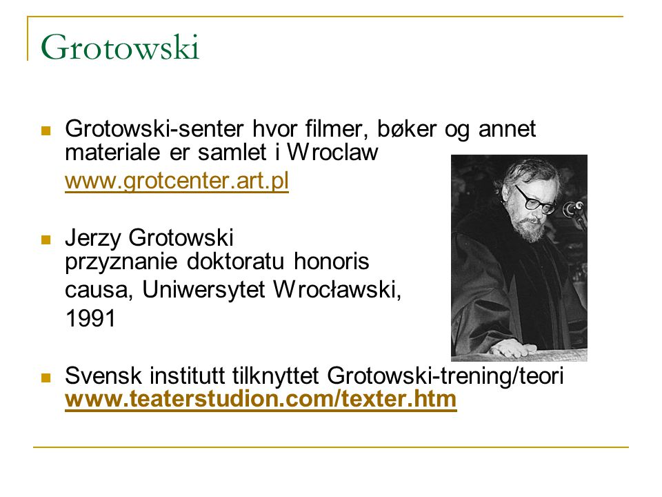 "poor theater a grotowski view Theatre, is the formulation of a ""poor theatre  lisa wolford, in ""grotowski's  vision of the actor,"" writes that the young grotowski admitted to being   grotowski's concept of the ""via negativa:"" he refers to this concept as ""not a."