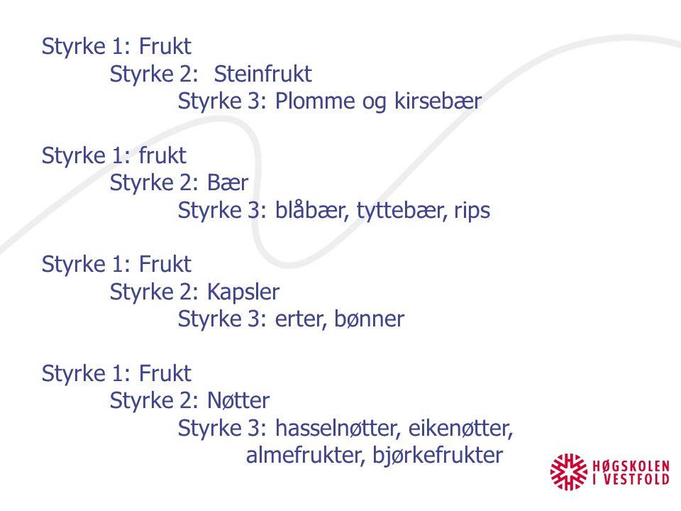Styrke 1: Frukt Styrke 2: Steinfrukt. Styrke 3: Plomme og kirsebær. Styrke 1: frukt. Styrke 2: Bær.