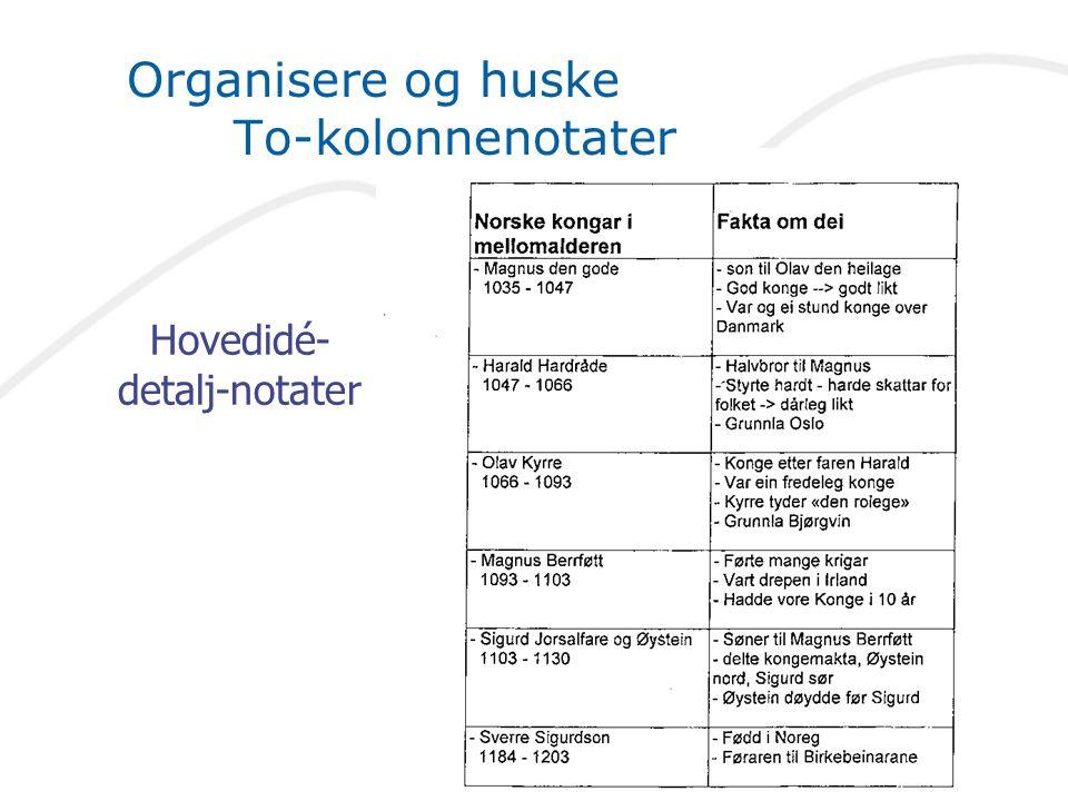 Organisere og huske To-kolonnenotater