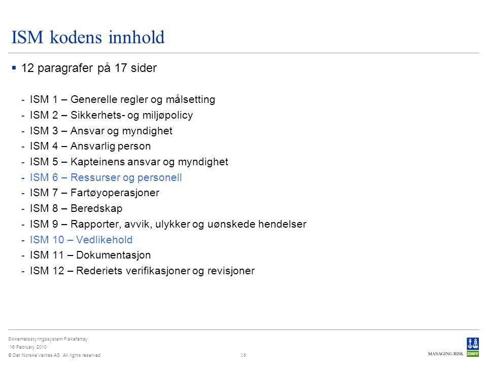 ISM kodens innhold 12 paragrafer på 17 sider