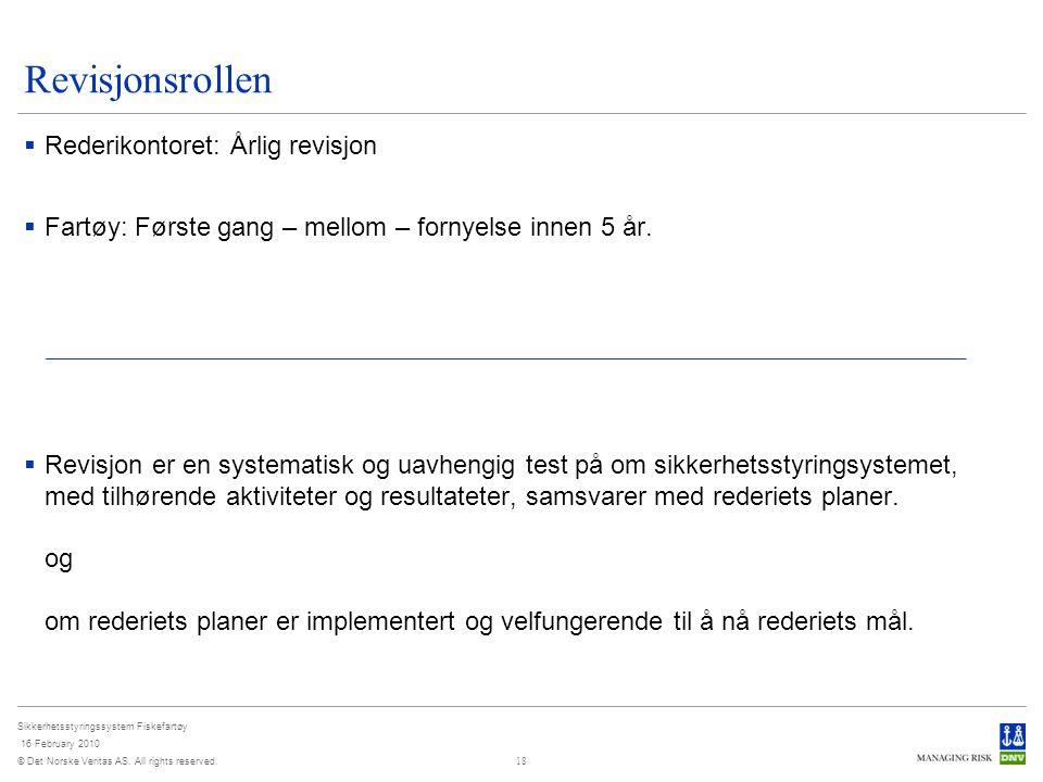 Revisjonsrollen Rederikontoret: Årlig revisjon