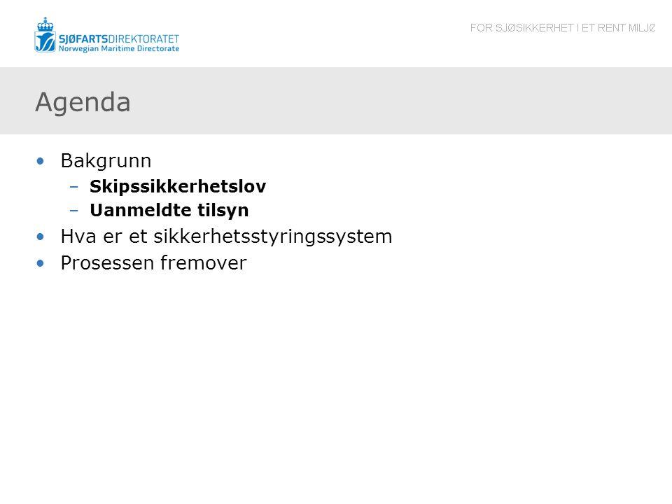 Agenda Bakgrunn Hva er et sikkerhetsstyringssystem Prosessen fremover