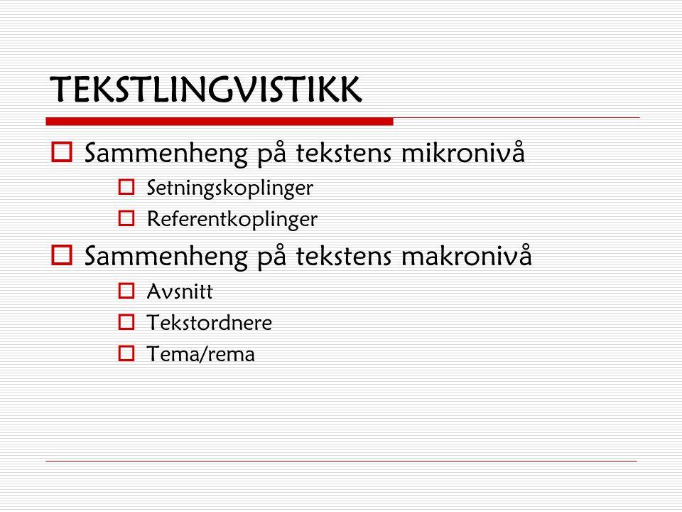 TEKSTLINGVISTIKK Sammenheng på tekstens mikronivå