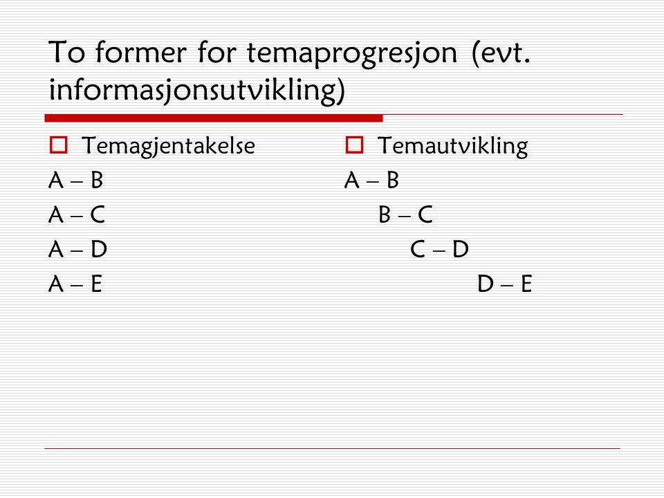 To former for temaprogresjon (evt. informasjonsutvikling)
