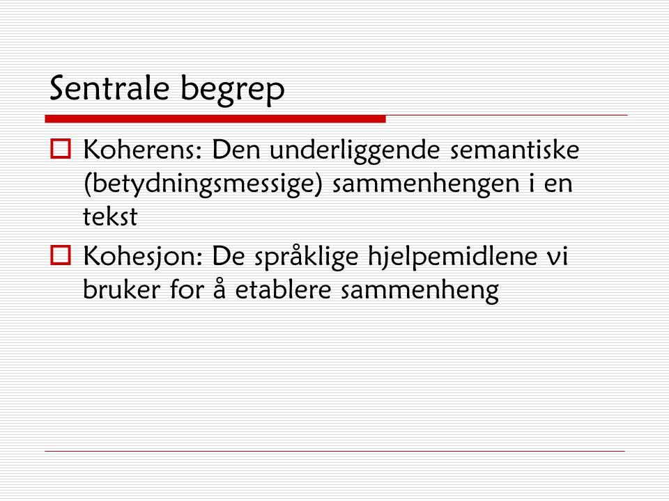 Sentrale begrep Koherens: Den underliggende semantiske (betydningsmessige) sammenhengen i en tekst.