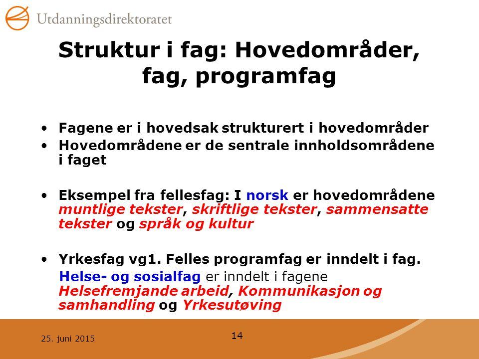 Struktur i fag: Hovedområder, fag, programfag