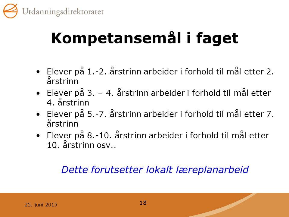 Kompetansemål i faget Elever på 1.-2. årstrinn arbeider i forhold til mål etter 2. årstrinn.