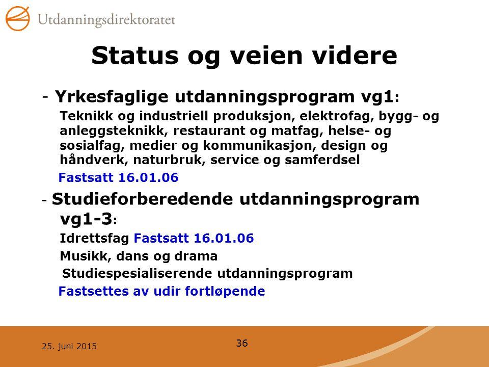 Status og veien videre - Yrkesfaglige utdanningsprogram vg1: