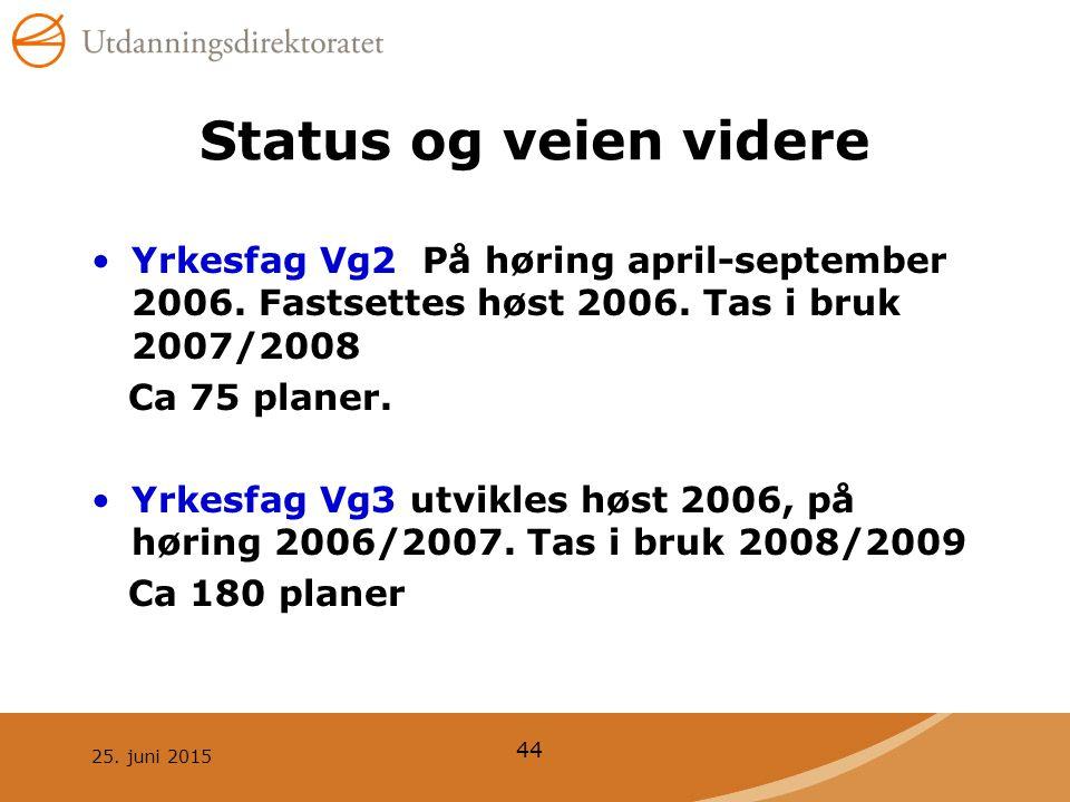 Status og veien videre Yrkesfag Vg2 På høring april-september 2006. Fastsettes høst 2006. Tas i bruk 2007/2008.