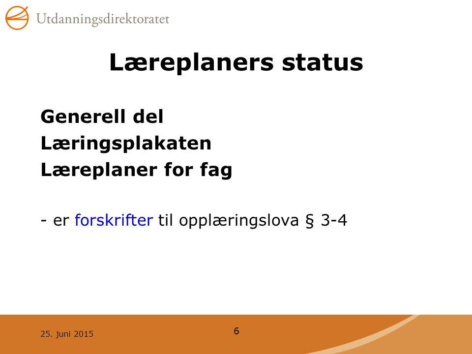 Læreplaners status Generell del Læringsplakaten Læreplaner for fag