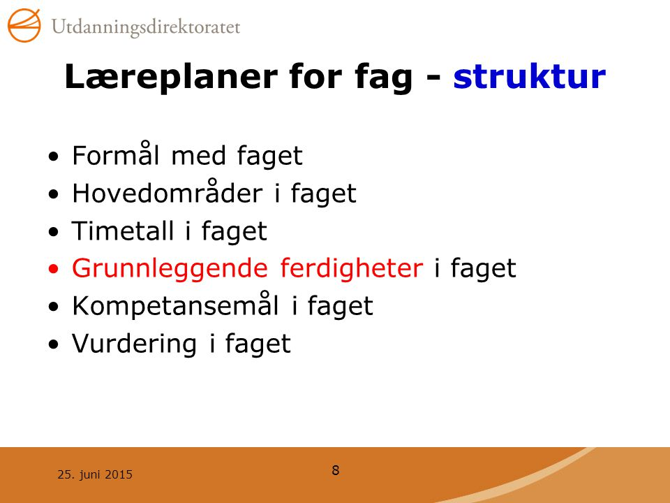 Læreplaner for fag - struktur