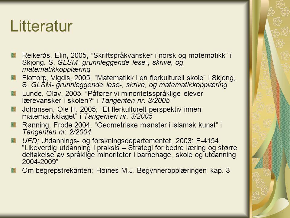 Litteratur Reikerås, Elin, 2005, Skriftspråkvansker i norsk og matematikk i Skjong, S. GLSM- grunnleggende lese-, skrive, og matematikkopplæring.