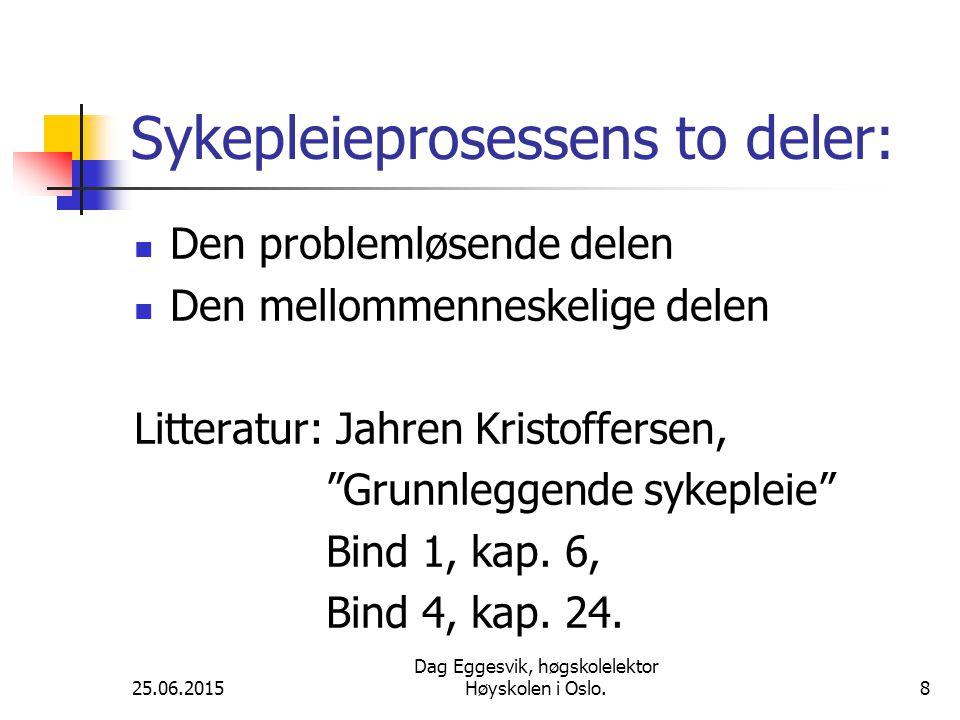 Sykepleieprosessens to deler: