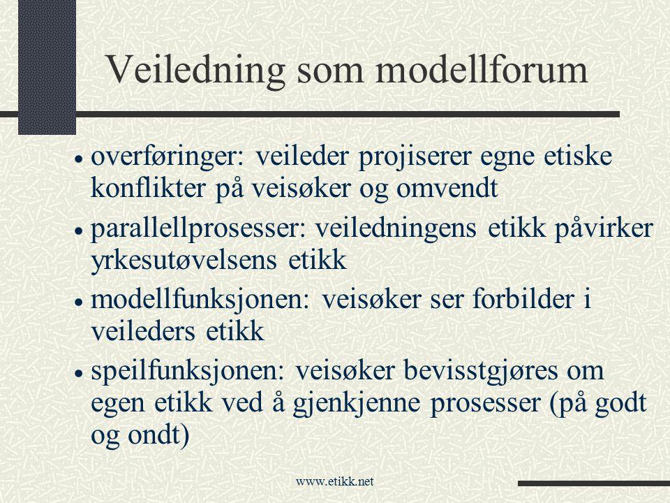 Veiledning som modellforum