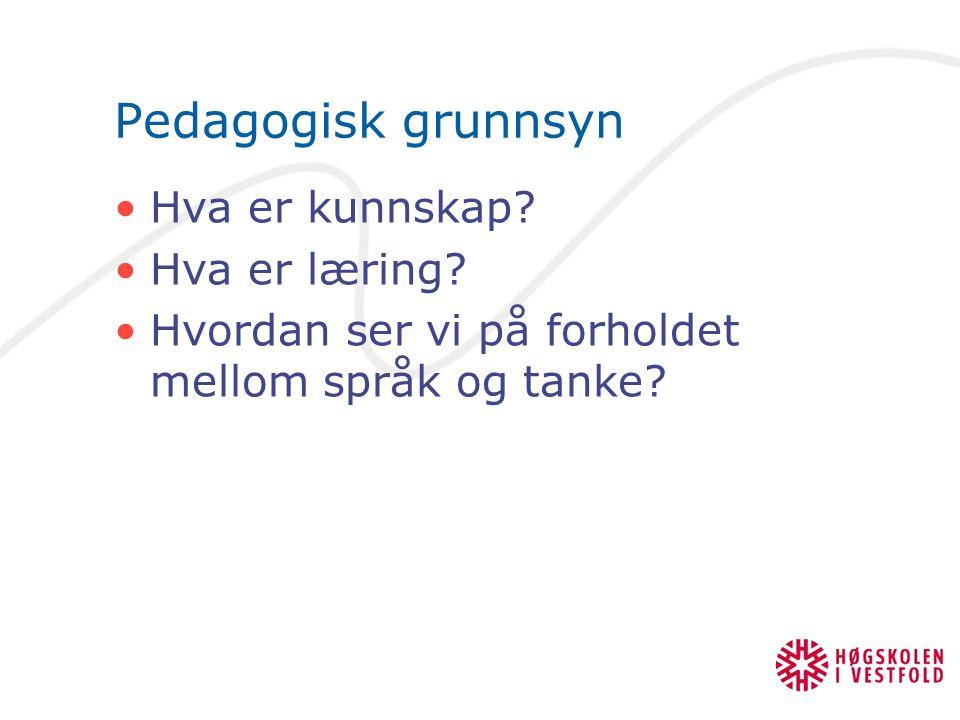 Pedagogisk grunnsyn Hva er kunnskap Hva er læring