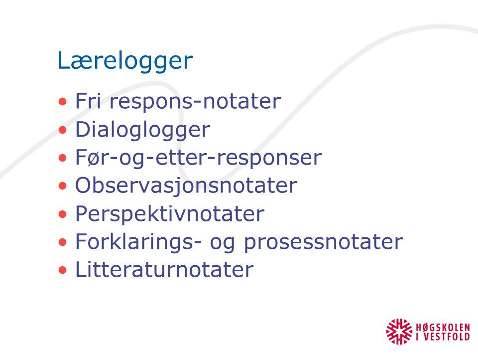 Lærelogger Fri respons-notater Dialoglogger Før-og-etter-responser