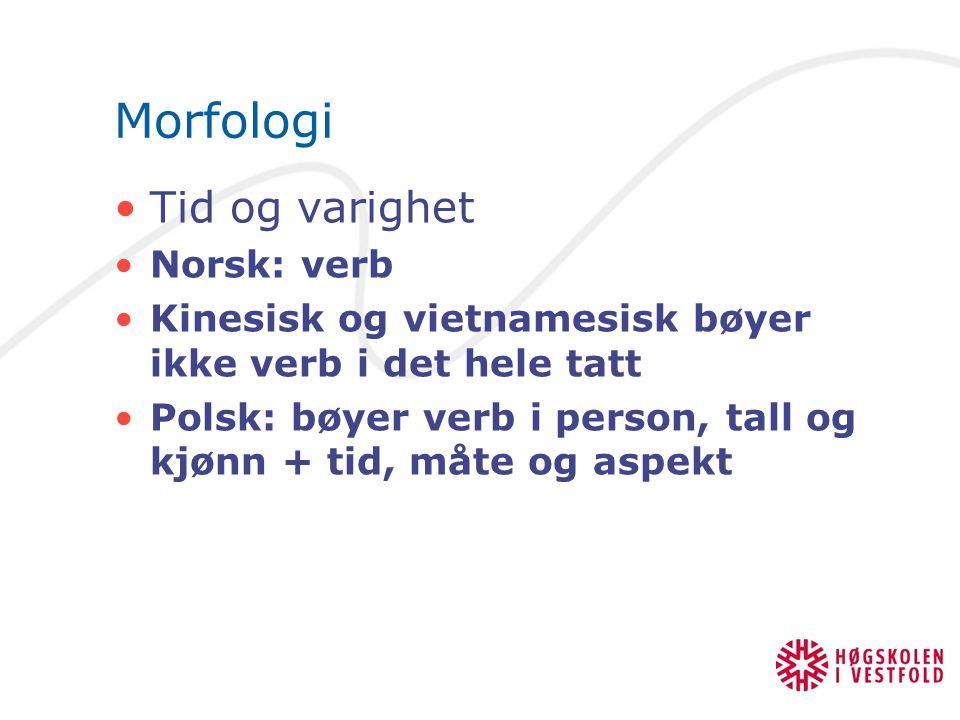Morfologi Tid og varighet Norsk: verb