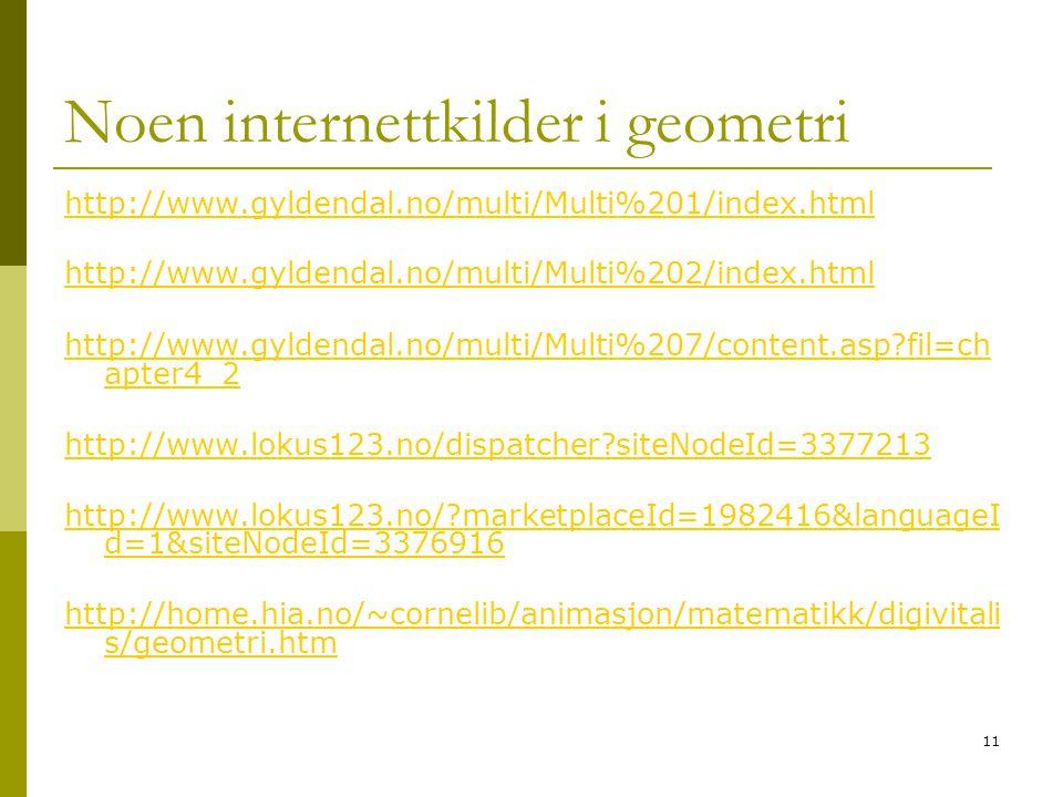Noen internettkilder i geometri