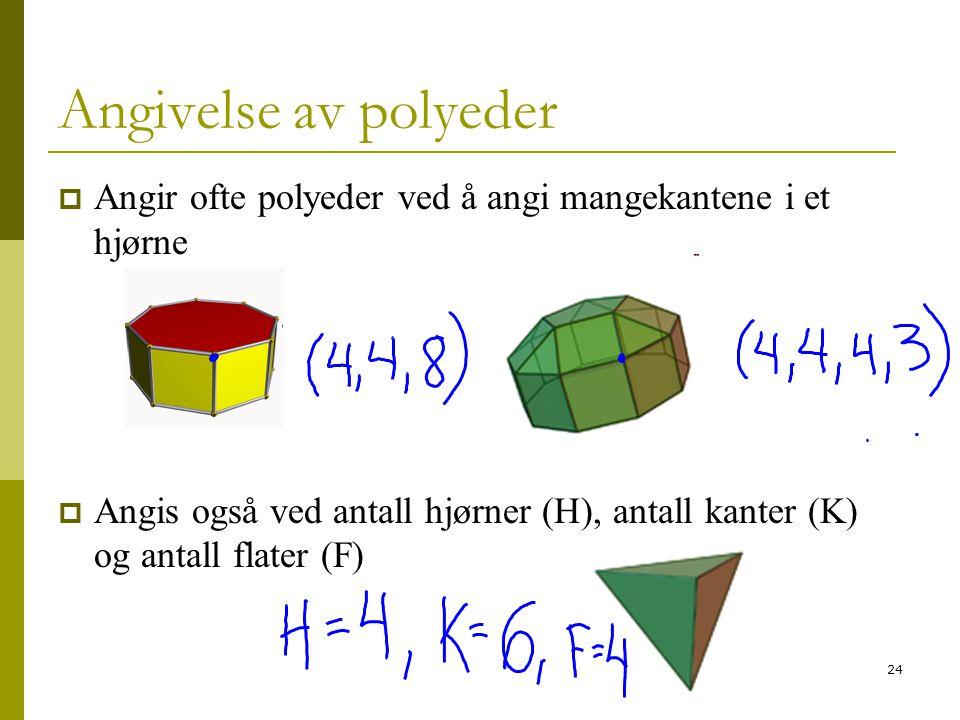 Angivelse av polyeder Angir ofte polyeder ved å angi mangekantene i et hjørne.