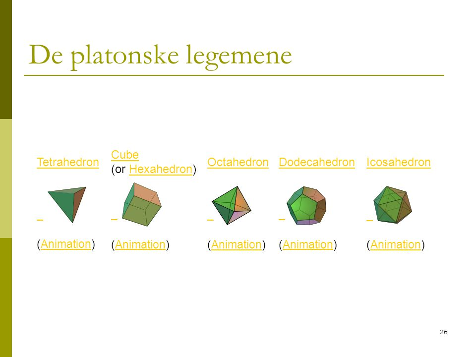 De platonske legemene Tetrahedron Cube (or Hexahedron) Octahedron