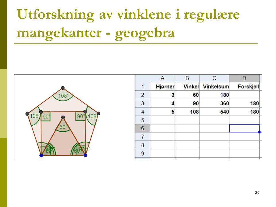 Utforskning av vinklene i regulære mangekanter - geogebra
