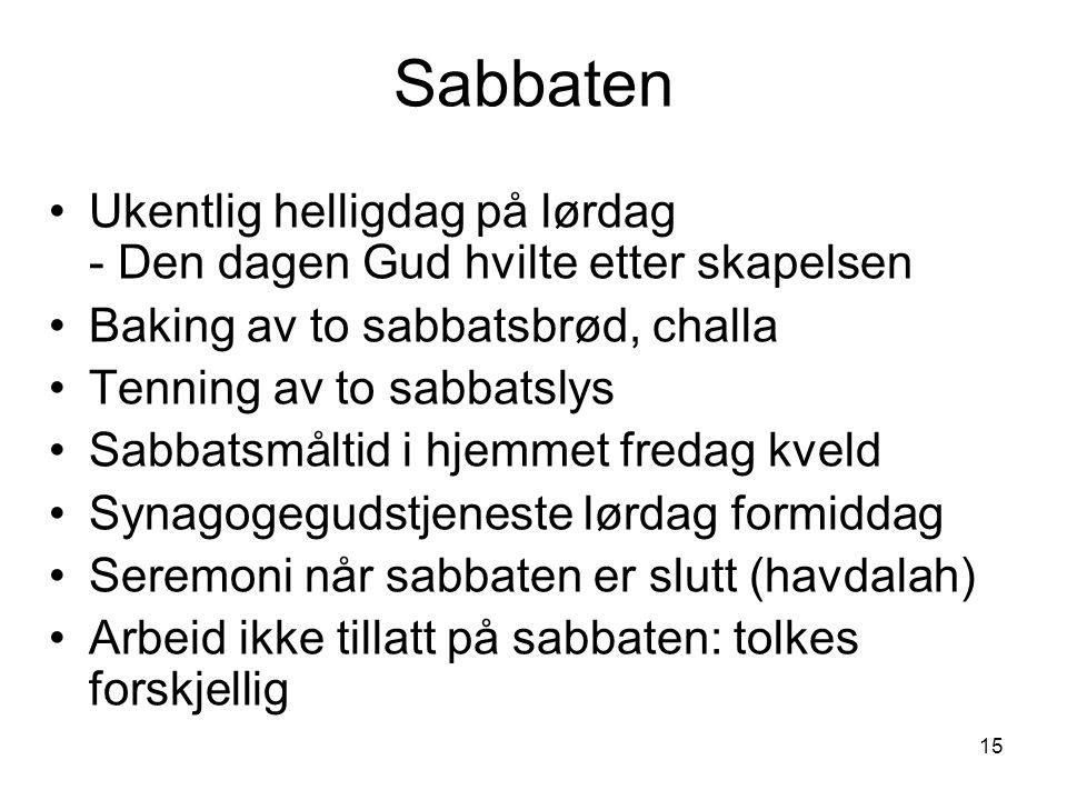 Sabbaten Ukentlig helligdag på lørdag - Den dagen Gud hvilte etter skapelsen. Baking av to sabbatsbrød, challa.