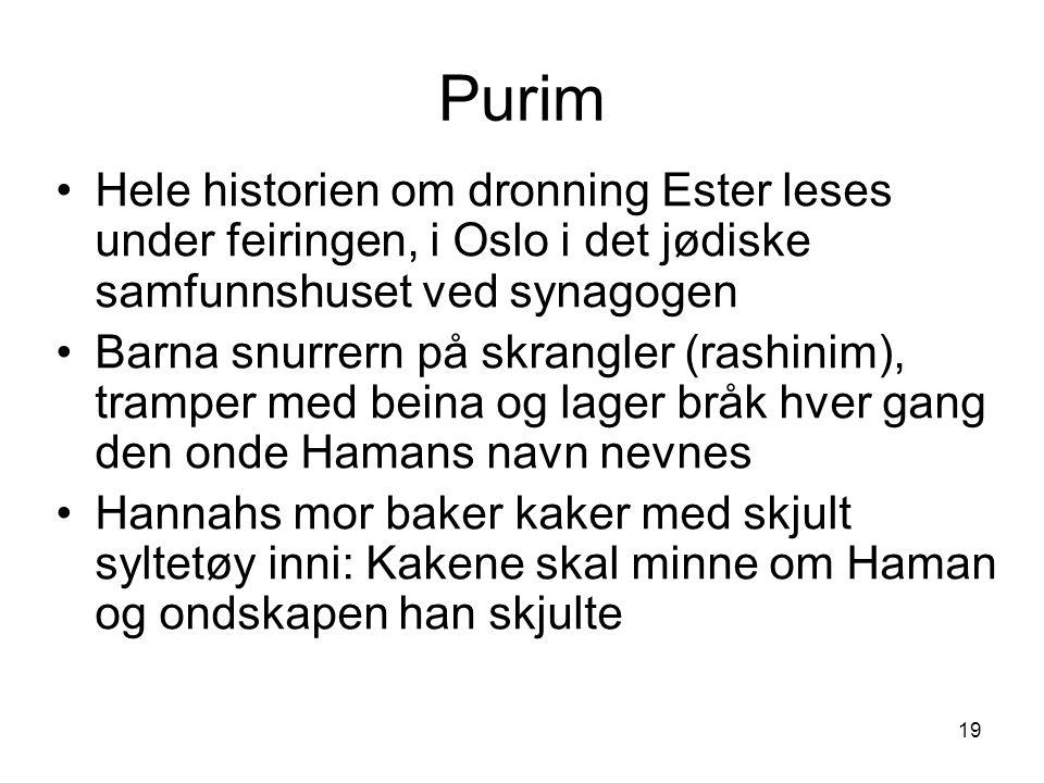 Purim Hele historien om dronning Ester leses under feiringen, i Oslo i det jødiske samfunnshuset ved synagogen.