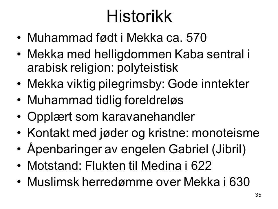 Historikk Muhammad født i Mekka ca. 570