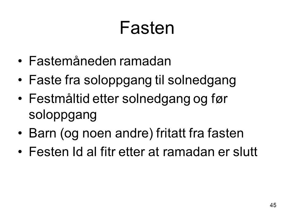 Fasten Fastemåneden ramadan Faste fra soloppgang til solnedgang