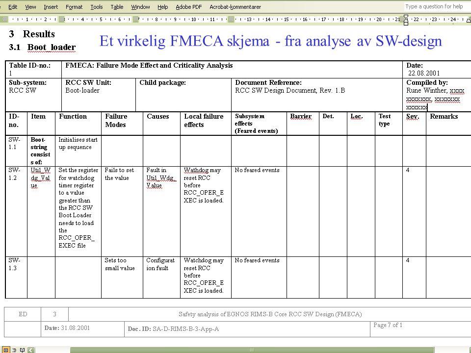 Et virkelig FMECA skjema - fra analyse av SW-design