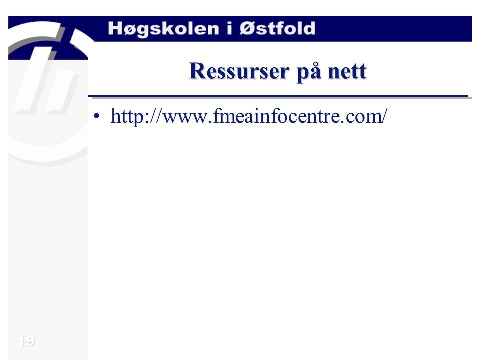 Ressurser på nett http://www.fmeainfocentre.com/