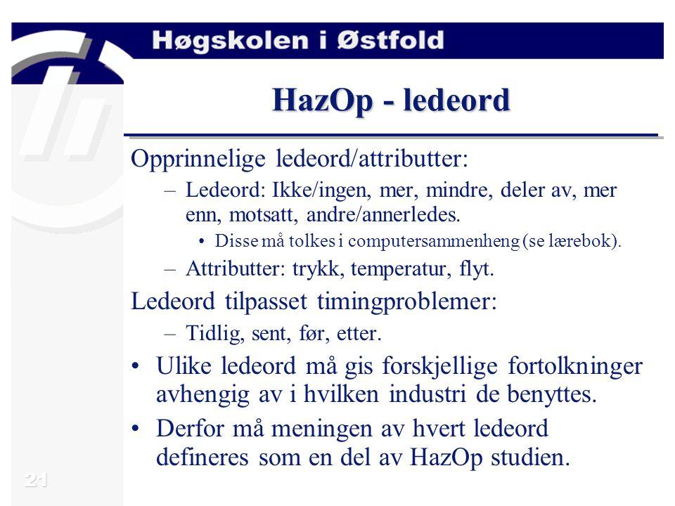HazOp - ledeord Opprinnelige ledeord/attributter:
