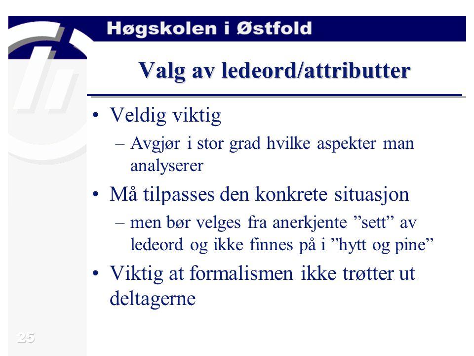 Valg av ledeord/attributter