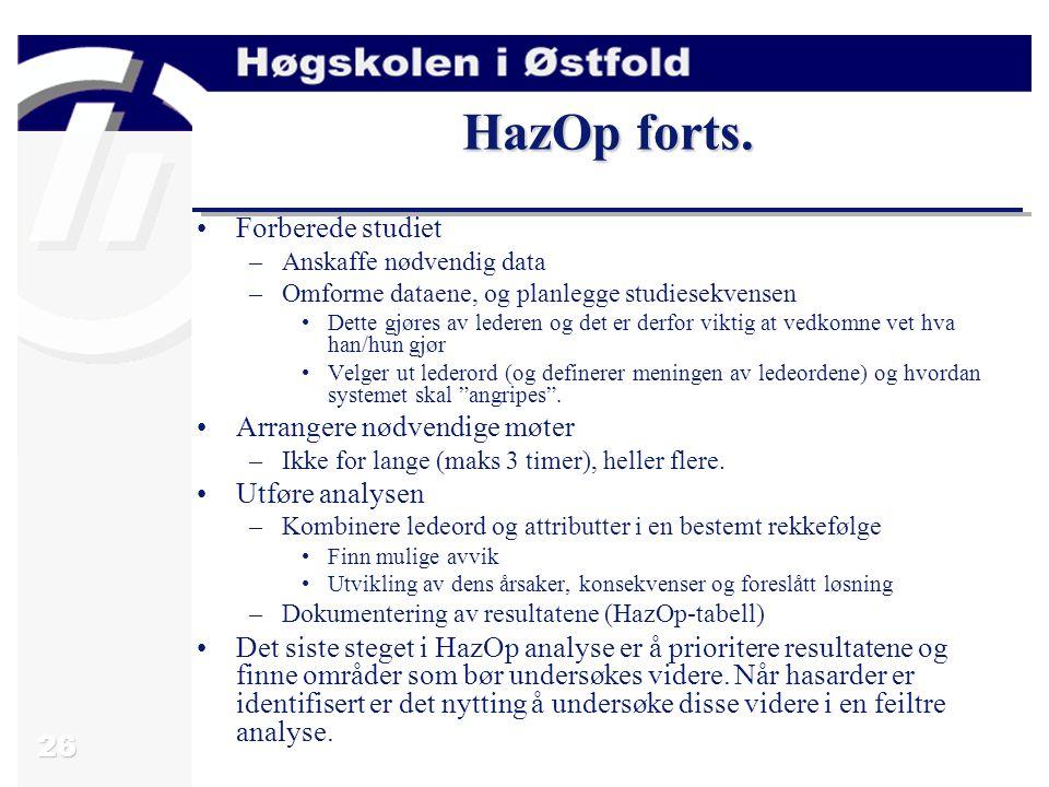 HazOp forts. Forberede studiet Arrangere nødvendige møter