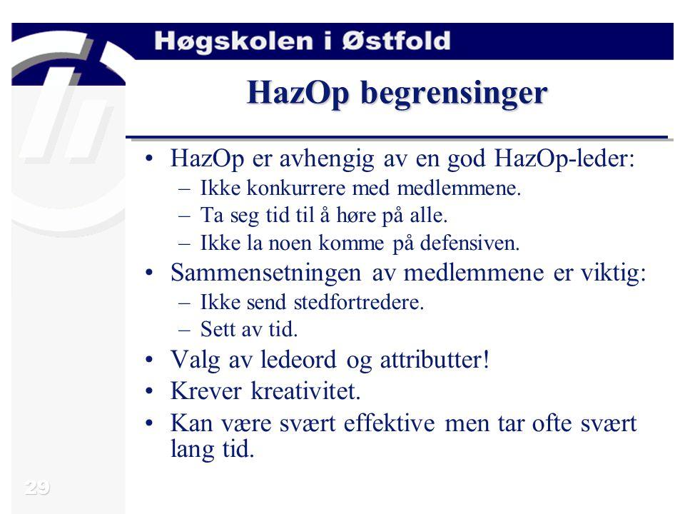 HazOp begrensinger HazOp er avhengig av en god HazOp-leder: