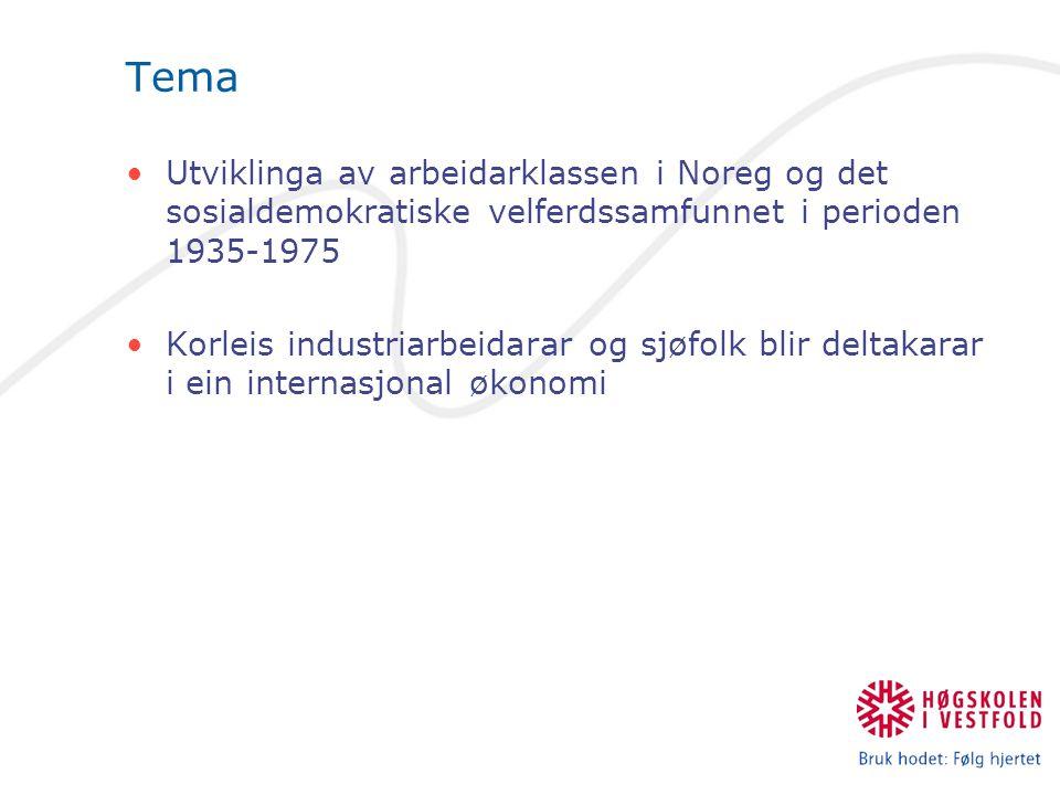 Tema Utviklinga av arbeidarklassen i Noreg og det sosialdemokratiske velferdssamfunnet i perioden 1935-1975.