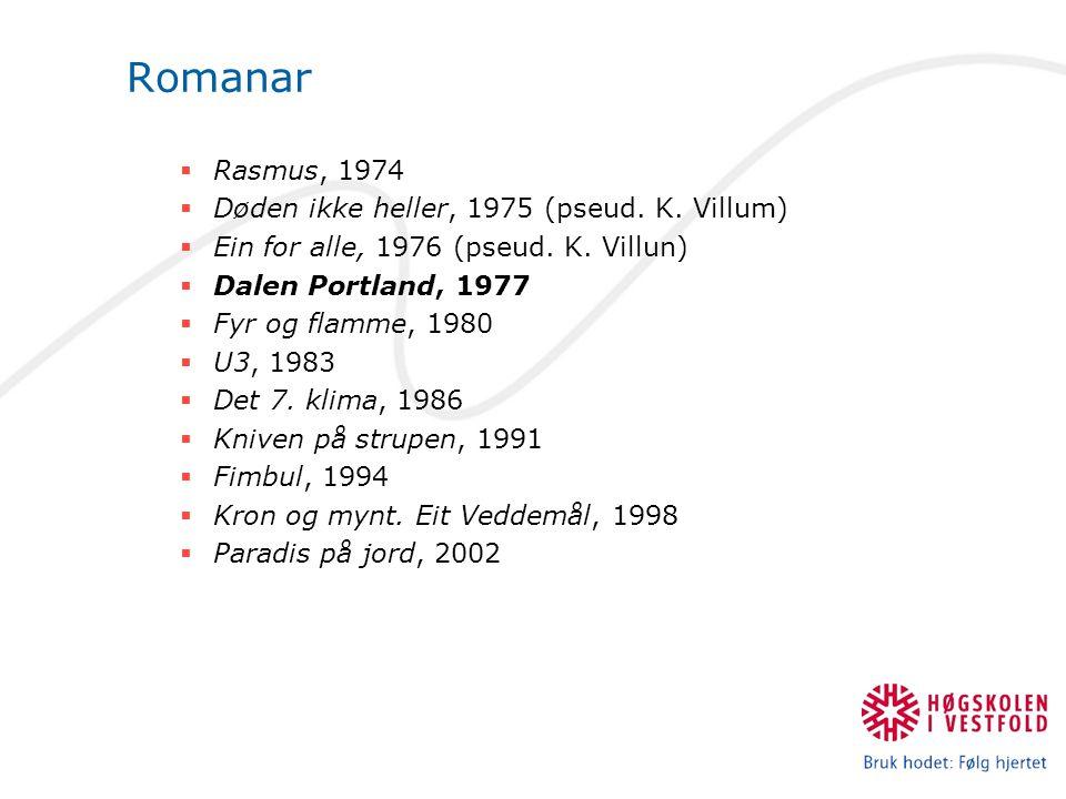 Romanar Rasmus, 1974 Døden ikke heller, 1975 (pseud. K. Villum)