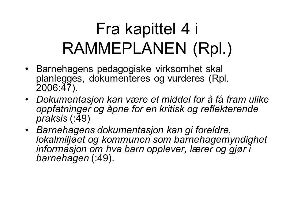 Fra kapittel 4 i RAMMEPLANEN (Rpl.)