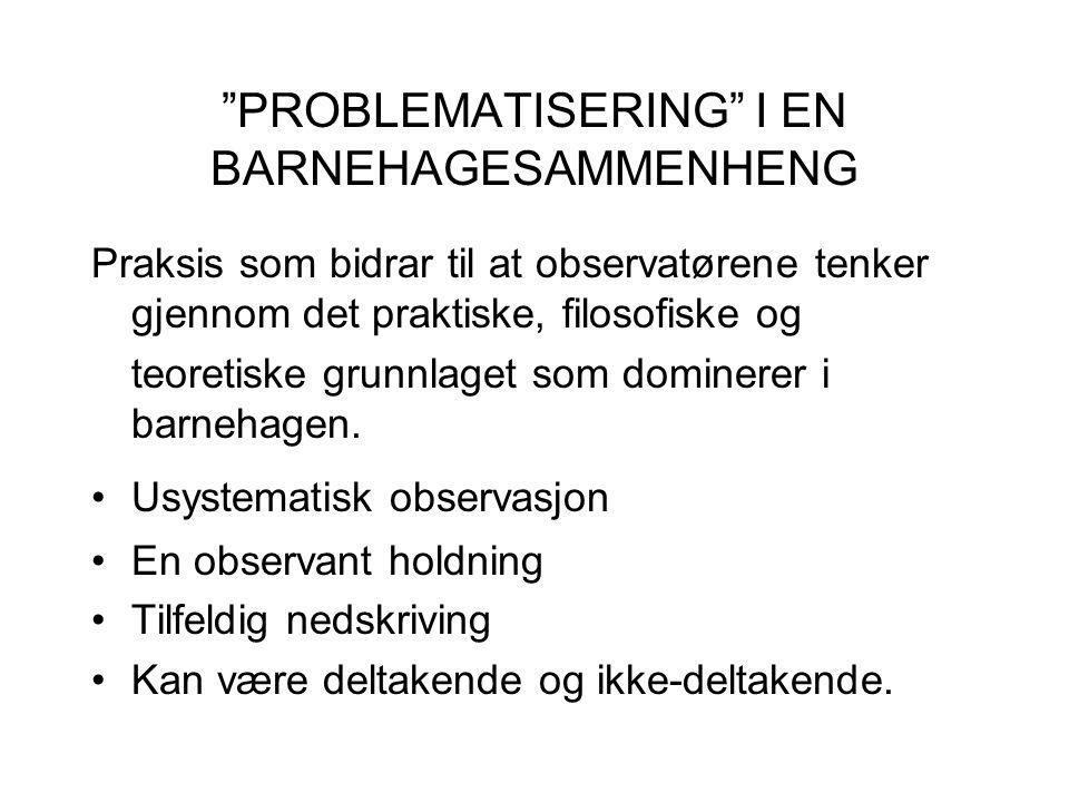 PROBLEMATISERING I EN BARNEHAGESAMMENHENG