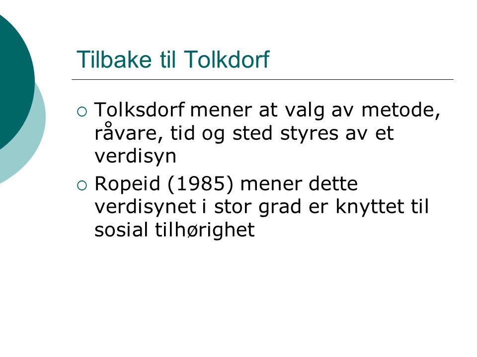 Tilbake til Tolkdorf Tolksdorf mener at valg av metode, råvare, tid og sted styres av et verdisyn.